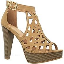 MVE Shoes Women's Platform Ankle Strap High Heel-Formal Party Block Dress Heel-Open Toe Heeled Sandal