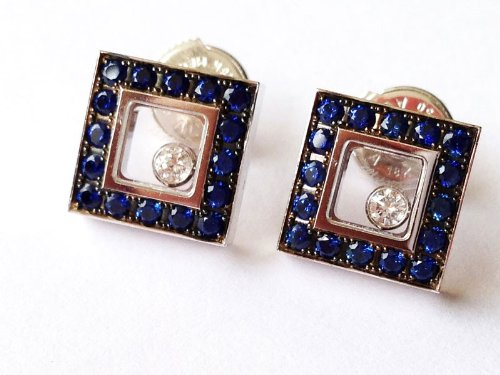 Chopard - Happy Diamonds - 18k White Gold, Sapphire & Diamond Square Earrings - MSRP $7,270