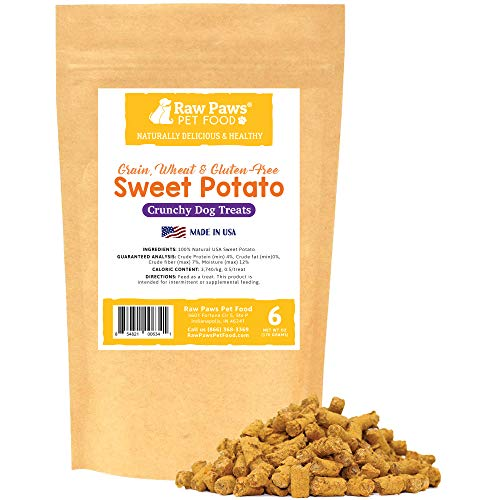 Raw Paws USA Natural Sweet Potato Dog Treats, 6-ounce - Healthy, Vegan, Vegetarian, Grain Free, Low Calorie, Low Protein, Mini, Dried, Crunchy Dog Treats Great for Puppy Training & Small to Large Dogs