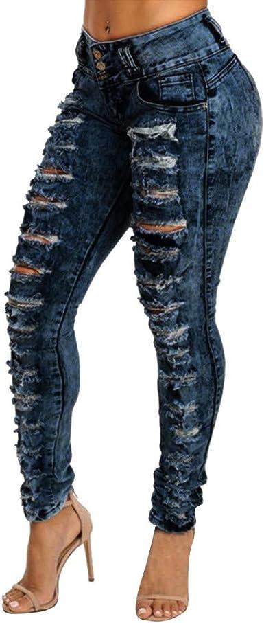 Myona Mujer Pantalones Vaqueros Pantalones De Mezclilla Largos Mujer Flacas Pantalones Rotos Elastico Jeans Skinny Fit Lapiz Denim Jeggings Mezclilla Treggings Leggings Suave Casual Amazon Es Ropa Y Accesorios