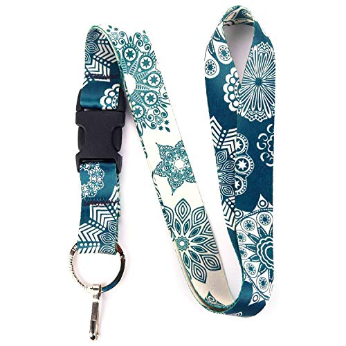 Buttonsmith Denim Lace Premium Lanyard - with Buckle and Flat Ring - Made in The USA ()