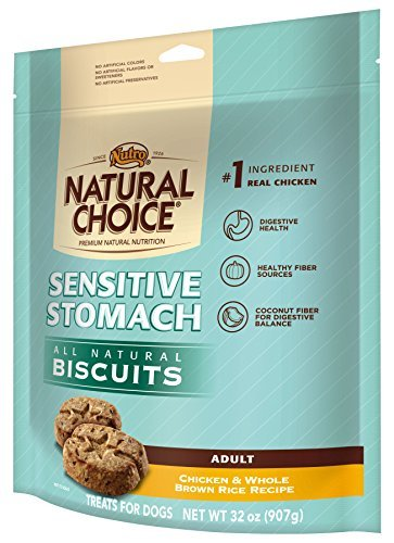 NATURAL CHOICE Sensitive Stomach Adult Biscuits Chicken and Whole Brown Rice Recipe - 32 oz. (907 g) by Nutro