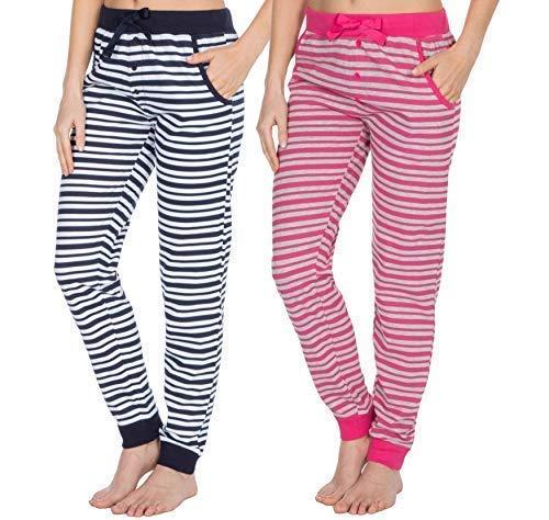 TALLA M. Insignia Jersey para Damas Suave Pijama Pantalones de Andar por Casa (Pack 2)