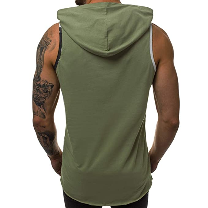 9b98cdb2b Amazon.com: MIS1950s Short Sleeve Hoodies for Men, Casual Scratch Patchwork  Hollow Out T Shirts Spring Summer Sports Vest Tops: Garden & Outdoor