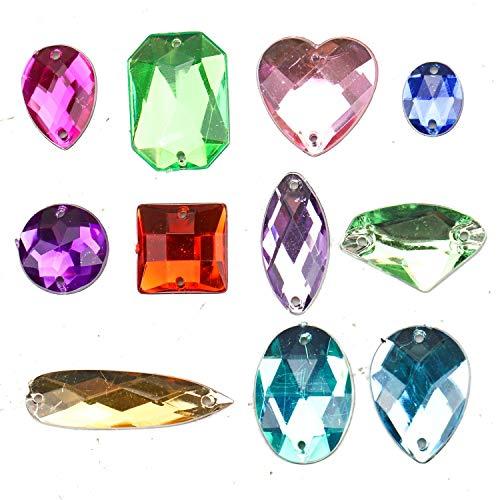 JETEHO 100Pcs Acrylic Gems Gemstones Flatback Craft Jewels Rhinestones Embellishments for DIY Crafts, Table Scatters, Wedding (Jewel Embellishment)