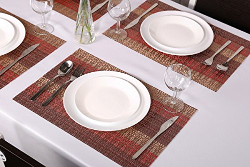 SICOHOME Placemats Set of 6,Soft Crossweave Woven Vinyl Placemat,Multi Colored(Red) by SICOHOME (Image #2)