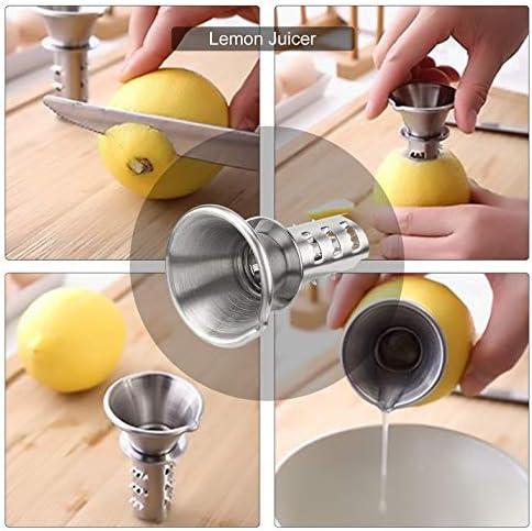 CloverGorge Mini Exprimidor de Limón de Acero Inoxidable 304, Herramientas de Perforación de Limón Manuales para El Hogar, Plateado
