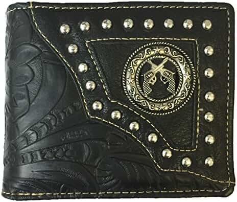 Pistol Mens Wallet Western Bifold Style W012-16 Flower Black