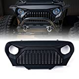 Xprite Front Matte Black Angry Brid Gladiator Vader Grille Grid Grill w/Mesh Inserts for 1997-2006 Jeep Wrangler TJ LJ