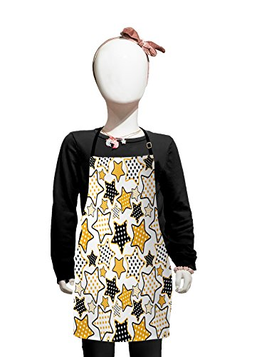 Lunarable Star Kids Apron, Polka Dots in Big and Small Stars Pattern 60's Style Party Rock'n Roll Theme Print, Boys Girls Apron Bib with Adjustable Ties for Cooking Baking and Painting, Yellow Black