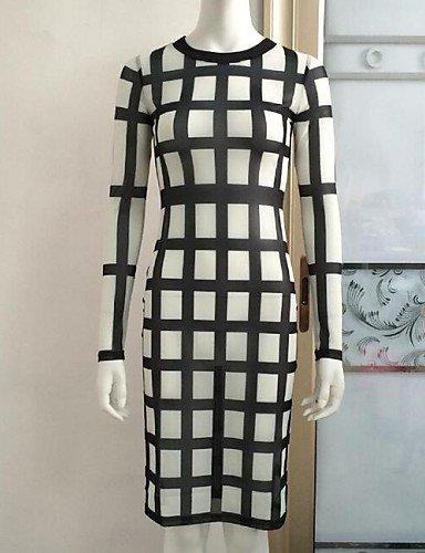 PU&PU Robe Aux femmes Gaine Vintage / Simple,Damier Col Arrondi Mi-long Polyester , white-xl , white-xl