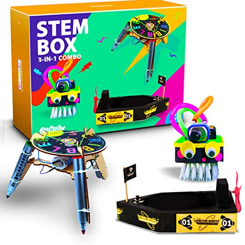 Be Cre8v 3 in 1 STEM Based Robotics Combo DIY Kit for Kids Over 6+ Years, Educational Kit, Science lab DIY, Electronics Projects, STEM Box