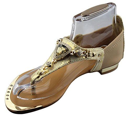 KOLLACHE Damen Flach Sandalen Damen mit Sommer Hochzeit Schuhe Beige