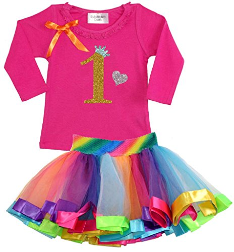 Bubblegum Divas Baby Girls' 1st Birthday Gold Rainbow Long Sleeve Tutu Outfit 18mos