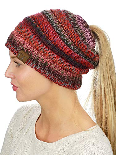62ca8ff4257 C.C BeanieTail Soft Stretch Cable Knit Messy High Bun Ponytail ...