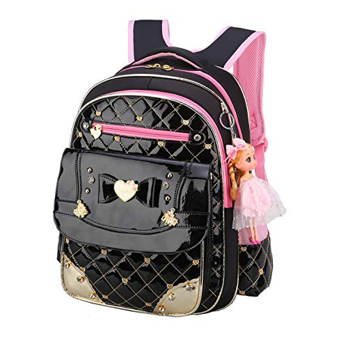 Bookbag for Girls,Gazigo Waterproof Girls Backpack with bows Back to School Gifts (Black, Large)