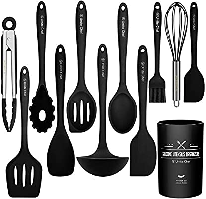 Kitchen Utensil Set 12 Cooking Utensils Set Colorful Silicone Kitchen Utensils Nonstick Cookware With Spatula Set Kitchen Tools Kitchen Gadgets With Utensil Crock By Umite Chef Black