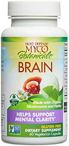 Host Defense - MycoBotanicals Brain Mushrooms and Herb Capsules, Helps Clarity, Concentration, Memory, and Adrenal Health with Lion's Mane, Ginkgo, and Bacopa, 60 Count