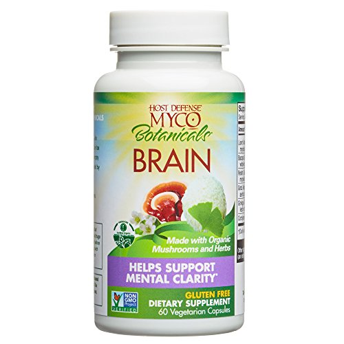Host Defense - MycoBotanicals Brain Mushrooms and Herb Capsules, Helps Clarity, Concentration, Memory, and Adrenal Health with Lions Mane, Ginkgo, and Bacopa, Non-GMO, Vegan, Organic, 60 Count