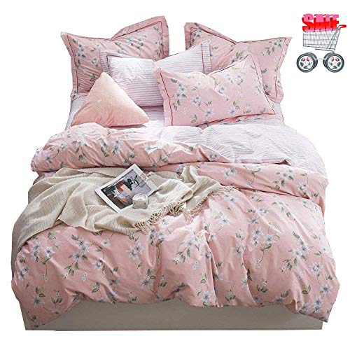 Duvet Cover Set 100% Soft Cotton Comforter Cover Ultra Soft and Easy Care Bedding Set Pink Floral Bed Set Comforter Cover for Girls ()