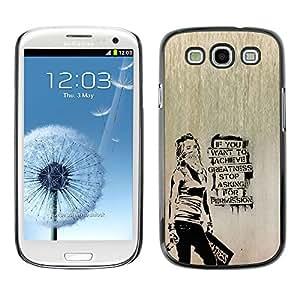 KLONGSHOP // Cubierta de piel con cierre a presión Shell trasero duro de goma Protección Caso - Banksy Graffity - Samsung Galaxy S3 //