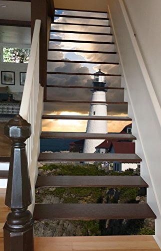Lighthouse at Dawn 40 x 9 Painted Stairway Decoration Adhesive Vinyl Decal Stair Riser Panels Easy To Install and Removable