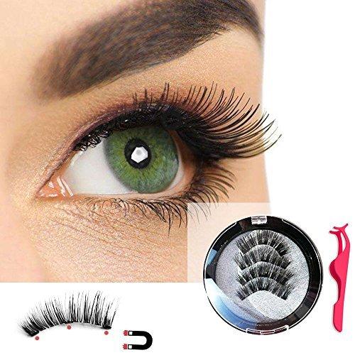 Magnetic Eyelashes 3 Magnet Reusable False Eyelashes 3D Natural Fake Eyelashes Set with Eyelash Extension Tweezer (No Glue Needed)