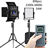 GVM 2 LED Video Light And Stand Lighting Kit, Dimmable Bi-Color 896pcs Photography Lights Aluminum Alloy Heat Dissipation Shell With Suitcase, Adapter, Soft Diffusion Filter, Barn Door,Black 60W