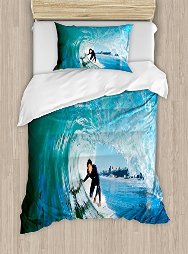 Surfer Bedding (Wave Duvet Cover Set Twin Size by Ambesonne, Extreme Sportsman Surfer Inside Barreled Wave Fun Action Holiday Vacation, Decorative 2 Piece Bedding Set with 1 Pillow Sham, Turquoise Pale Blue)