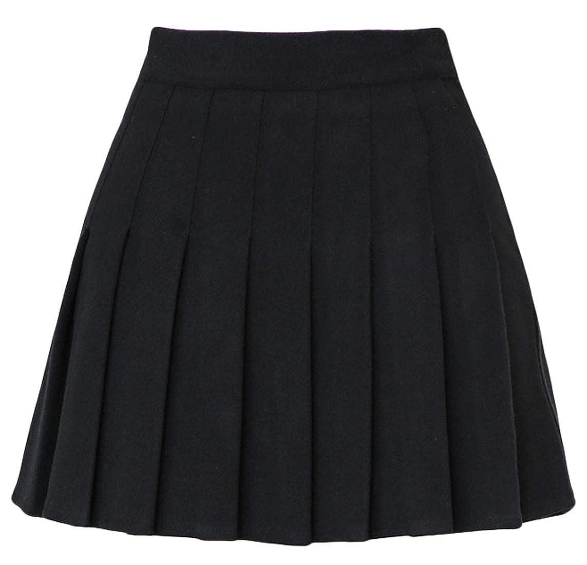 a8bae591ab chouyatou Women's High Waist A-Line Flare Pleated Mini Wool Skirt at Amazon  Women's Clothing store: