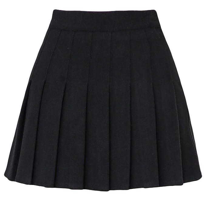 75986083cf chouyatou Women's High Waist A-Line Flare Pleated Mini Wool Skirt (X-Small