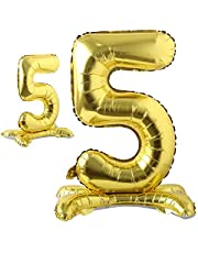 Self Standing 32 Inch Number Balloons Foil Ballon Gold Digit Ball Wedding Birthday Party Decoration Baby Shower Supplies (32 inch Stand Gold 5)