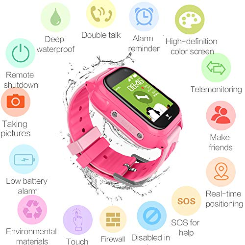 Hangang Kids GPS Tracker Smart Watch with Camera,Flashlight,Math Game,SOS Call,Voice Chatting,Remote Monitor Anti Lost Kid Smart Watch for Kids Boys Girls Support Android iOS -M06 (Pink) by Hangang