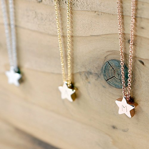 Heather Moore Charm Necklace (16K Silver Star Necklace - Dainty Hand stamped Delicate Personalized Initial Charms Star)