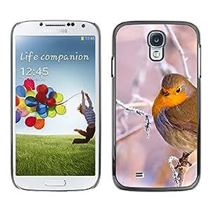 KOKO CASE / Samsung Galaxy S4 I9500 / de invierno de hielo pájaro rama del árbol de la nieve hinchada fríos / Delgado Negro Plástico caso cubierta Shell Armor Funda Case Cover