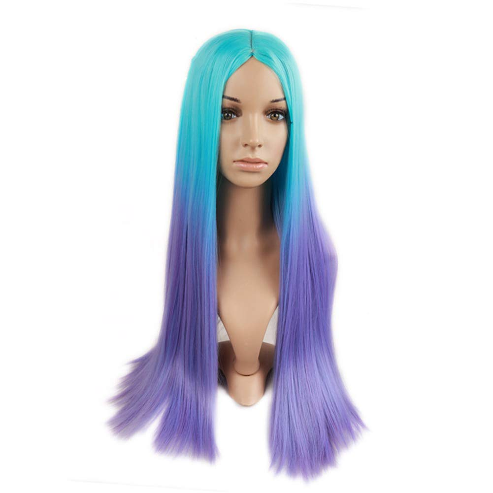 26 Inches Unicorn Silky Straight Wigs, 2 Tones Light Blue Purple Ombre Color Synthetic Hair, for Women Girls Costume Party Halloween Anime Cosplay Fancy Dress by Azly-Wigs