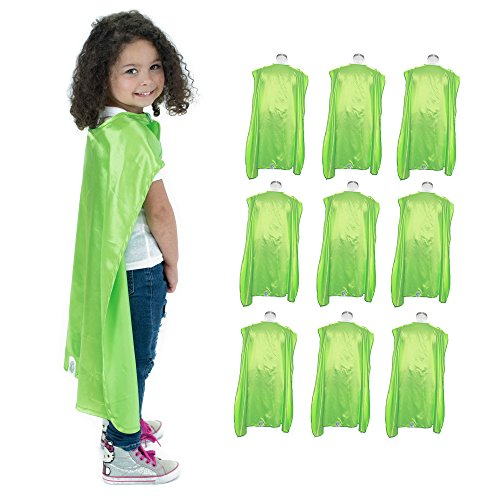 Monogram Wizard Embroidery - Everfan Youth Superhero Cape Party Pack | Set of 10 Polyester Satin Capes - Kids (Lime Green)