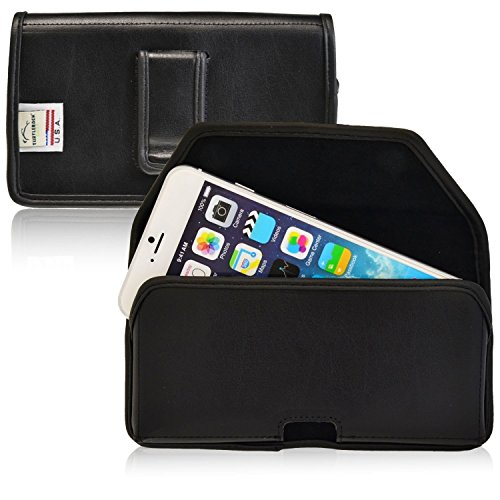 Turtleback Holster Compatible with Apple iPhone 6S Plus, 6 Plus Black Belt Case Leather Pouch with Executive Belt Clip Horizontal Made in USA