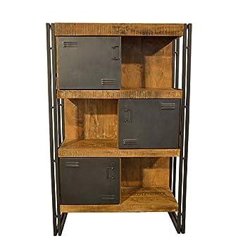 highboard vitrine vintage design massivholz metall kleiderschrank ...