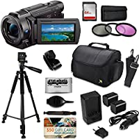 Sony FDR-AX53 4K HD Handycam Camcorder Video Camera + Tripod + SD Card + Filter + Bag + Battery + Starter Beginner Bundle Kit