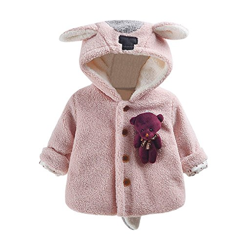 Birdfly Baby Girls Fawn Deer Ears Hooded Coat with Cute Doll Teddy Bear Cloak Jacket Thick Warm Winter Outwear (3M, Baby (Printed Jacket Pink Dolls)