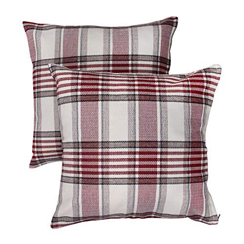 BEYONDY Set of 2 Throw Pillow Covers, Christmas Pillow Cover 18 x 18 Inch Decorative Cushion Cover Cotton Linen Pillowcases for Sofa Bedroom Car (Cream White/Red Plaid)