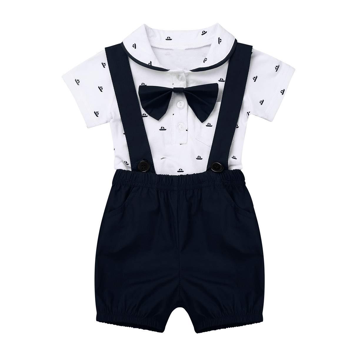 FEESHOW Toddler Baby Boys Gentleman Outfits Short Sleeve Romper Bodysuit Top Suspender Bib Pants+Bow Tie 3Pcs Set