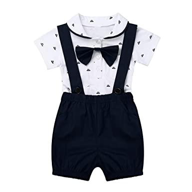 b17cdd2af0544 Freebily Toddler Baby Boys Summer Short Sleeve Gentleman Romper Jumpsuit  with Suspender Shorts Bow-tie Outfit Set  Amazon.co.uk  Clothing