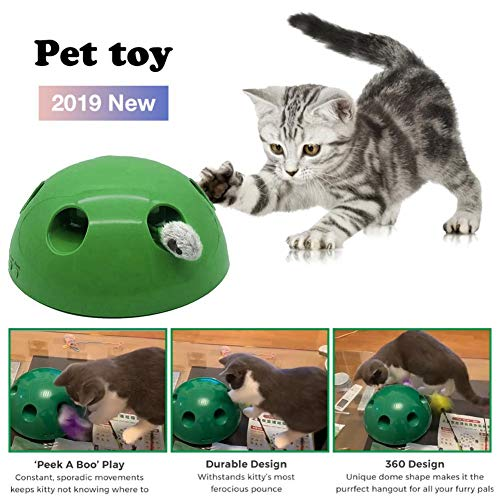 Cat Interactive Motion Cat Toy, Round Electronic Smart Random Moving Feather & Hamster Teaser, Mouse Sound Optional Auto Shut Off, Great Cat Toys- Popandplay- Boo Pop- Cat Toys Funny 5