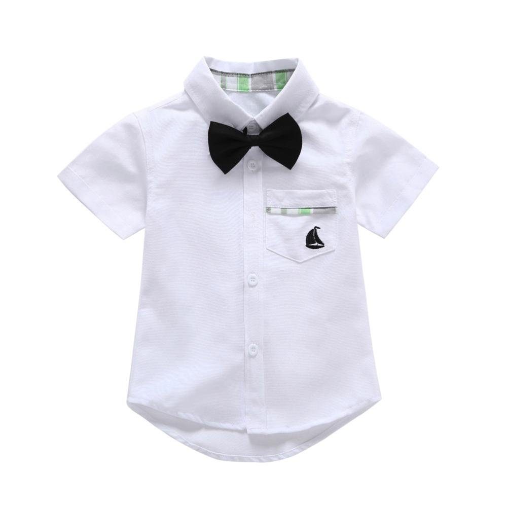 Hatoys Baby Boys Gentleman T-Shirts Solid Short Sleeve Tie Tops Pocket Clothes Shirt