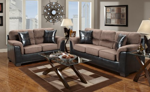 Roundhill Furniture Laredo 2-Toned Sofa and Loveseat Living Room Set, Chocolate/Brown