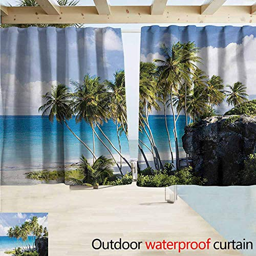 Wakefield Curtain - Lcxzjgk Travel Outdoor Curtain Panel for Patio Caribbean Island Overlook with Palm Tree and Ocean Exotic Travel Destination Print Simple Stylish W63 xL72 Cream Blue