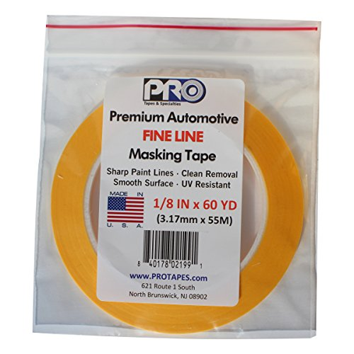 PRO Tapes Premium Automotive FINE LINE Masking Tape 1/8 IN x 60 YDS on 3