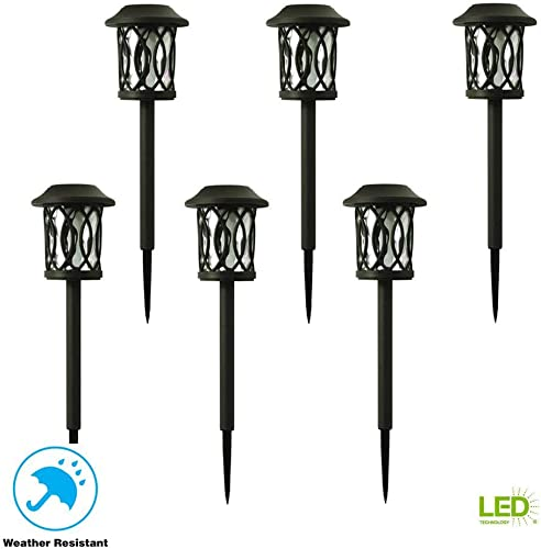 Hampton Bay Solar Bronze Outdoor Integrated LED 3000K 6-Lumens Landscape Pathway Light 6-Pack